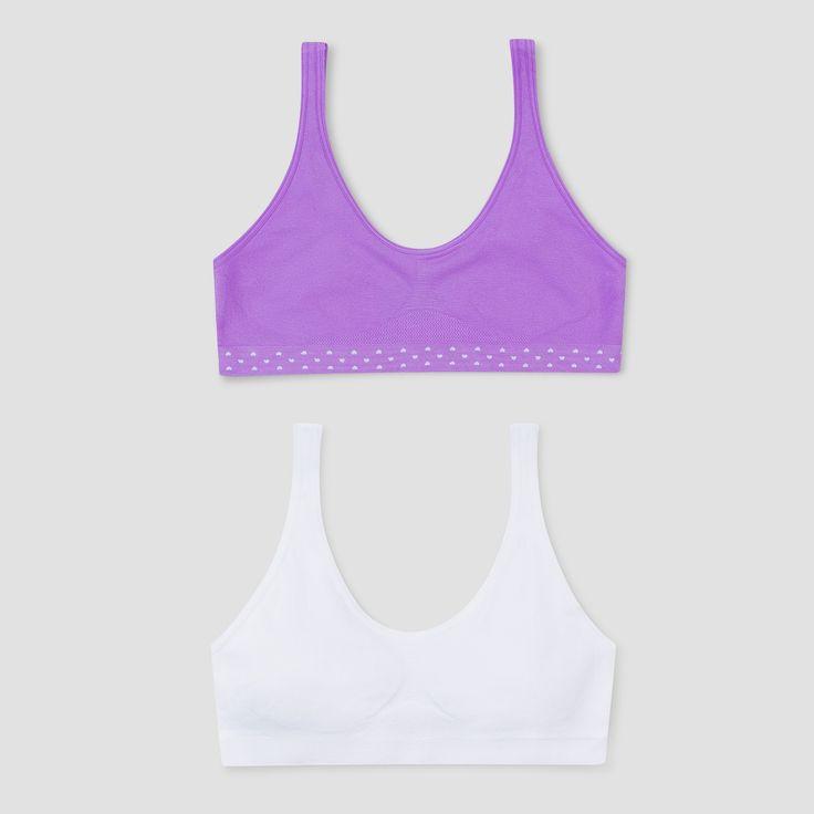 Girls' Hanes Red Label Bras - XL, Purple/White