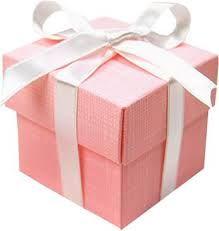 Geboortebedankjes, roze doosje met wit lint. www.SweetLittleThings.nl