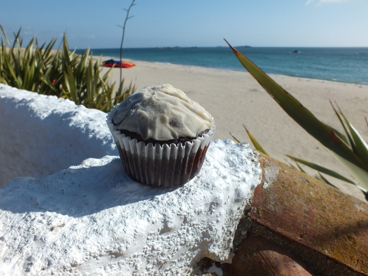 Banana and chocolate muffins at Shell Beach Cafe, Herm Island April 2012.