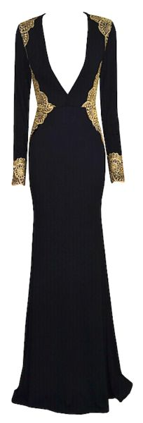 Octavia Ornate Matador Inspired Maxi Dress - Black & Gold