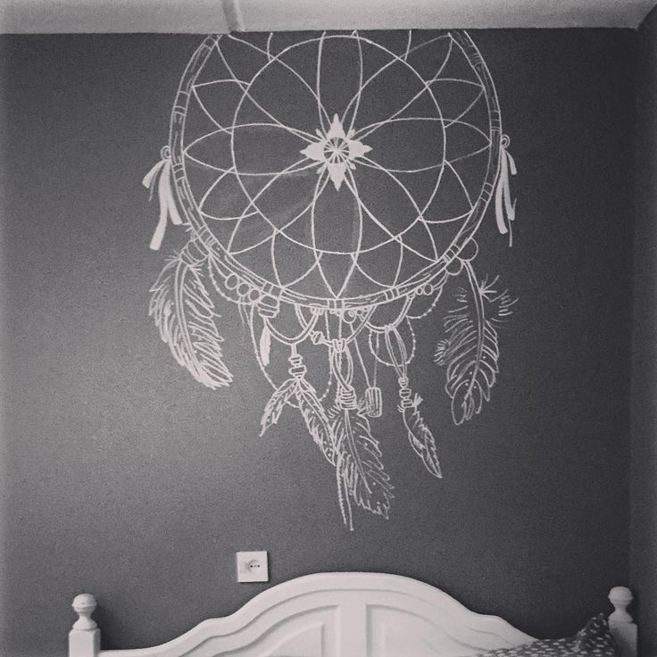 Wallpainting / Muurtekening.  Dreamcatcher / Dromenvanger. #chalk #chalkboardart #krijt #krijtbord #dreamcatcher #dromenvanger