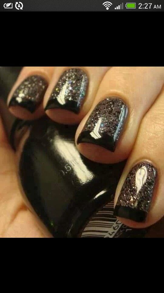 Black and glitter french nail art