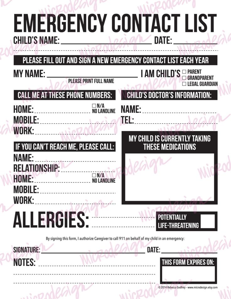 10 best Emergency Contact Information images on Pinterest Closet - emergency contact forms