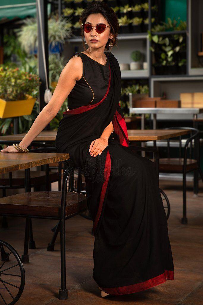 771e4adfdd87 Black Pure Cotton Saree With Red Border