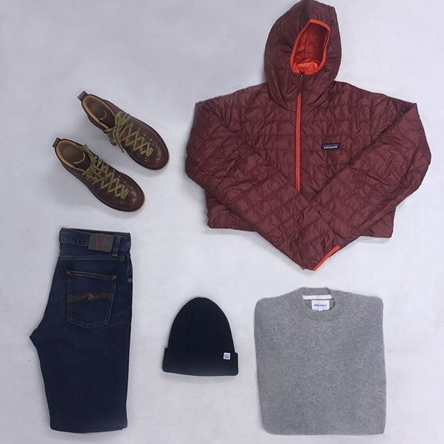 Friday's #aphroditeessentials include a @patagonia pullover, a @norseprojects jumper, some @nudiejeans, @fracap1908 boots and a @norseprojects beanie. Shop the look now in our winter sale! #aphrodite1994 #aphroditeclothing #mensfashion #norseprojects #newseason #menswear #outerwear #patagonia #sale #flatlay #flatlays #flatlayapp www.flat-lay.com
