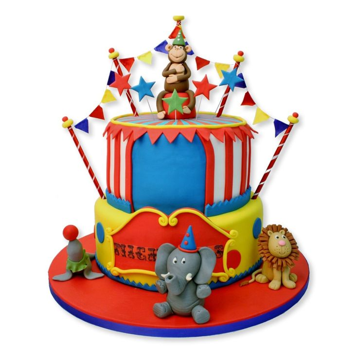 Birthday Circus Cakes | ... Novelty Cakes Childrens Birthday Cakes Two Tier Circus Animals Cake