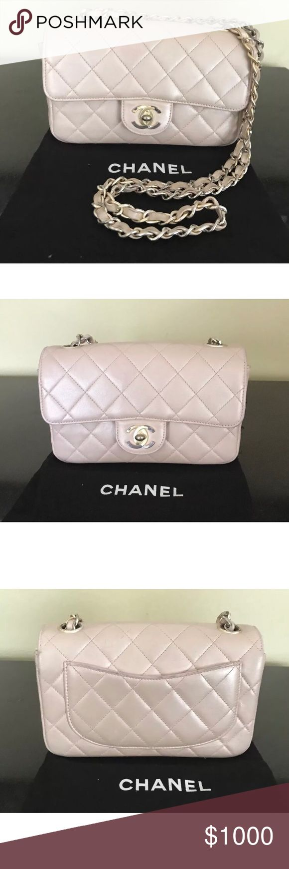Authentic Chanel iridescent pink small flap Bag!!! 100% Authentic Chanel Pink Small Flap Bag   Please read details and ask questions.   The gold matte hardware is special and was part of their special edition. However, the matte gold hardware has faded in some spots and lost gold luster (see pic). The hardware is NOT chipped but faded in color. It has a magnet closure rather than traditional turn lock closure. I have noticed only the vintage collection and special edition collection offer…