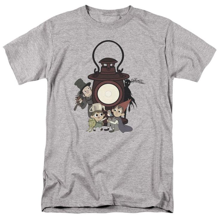 The eternal struggle between the Woodsman and the Beast haunts Wirt and Greg throughout their trip through the woods on Over the Garden Wall, and the mysterious object at the center of it all looms large on this lovely T-shirt. As Wirt, Greg, Beatrice, and the Frog rest in the light of the Dark Lantern, the Woodsman and Beast lurk behind them, promising conflict ahead. But what is the Lantern's true nature?