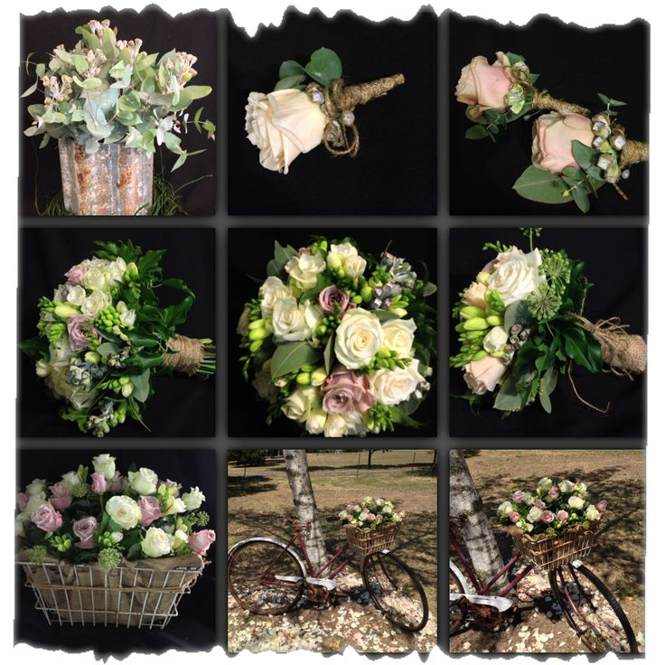 collage of wedding flowers