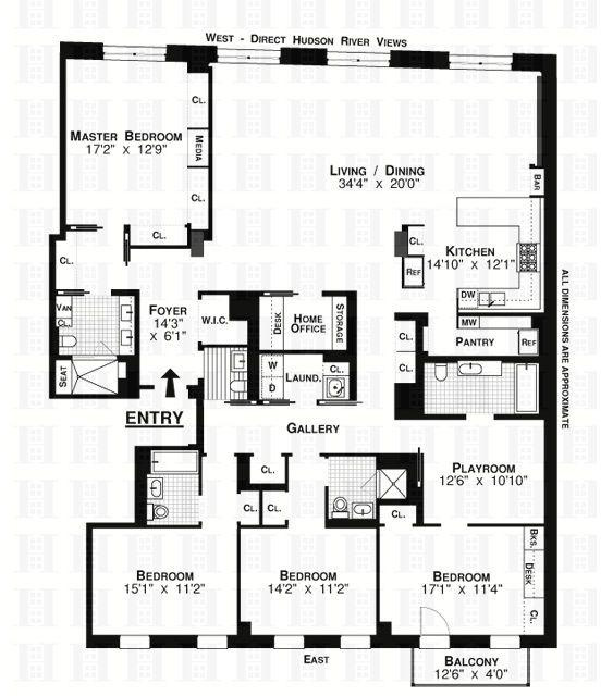 tribeca river lofts 5cb floorplan.   Like the kitchen / pantry area.