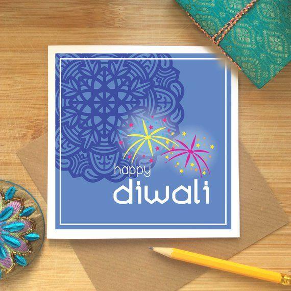 Happy Diwali Card, Fireworks Design on Blue, Diwali Card, Indian Celebrations, Hindu, Sikh, Festival of Lights, Diwali Greetings, Deepavali – Kushiya Designs   Cards – Prints – And more…