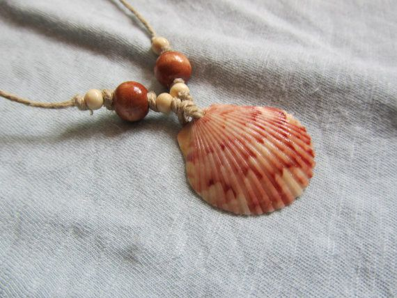 Pink Sea Shell Necklace with Wood Beads and Hemp by FruFruDesign, $18.00
