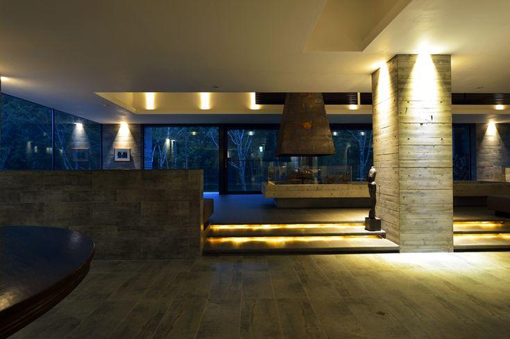 Lobby Fireplace || Zaborin 坐忘林 | Architect: nA Nakayama Architects | Photographer: Ken Goshima