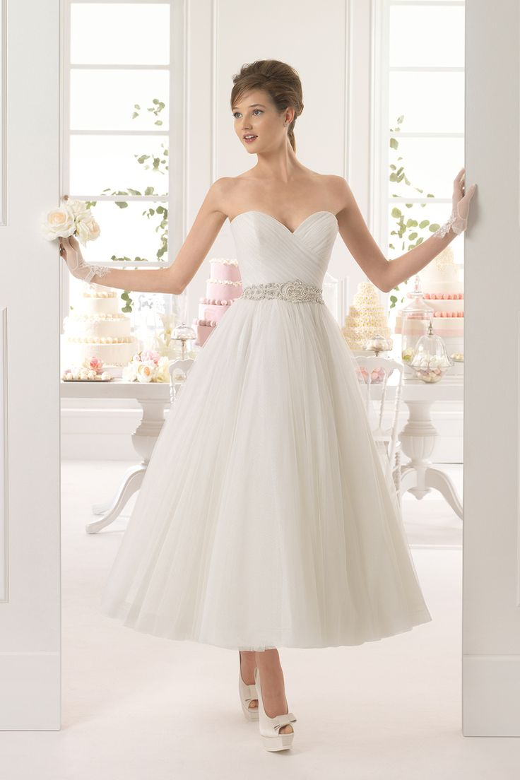 2015 Wedding Dress Sweetheart Princess Pleated Bodice With Ruffles And Beads Tulle Ankle Length USD 139.99 EPPLJFD81E - ElleProm.com