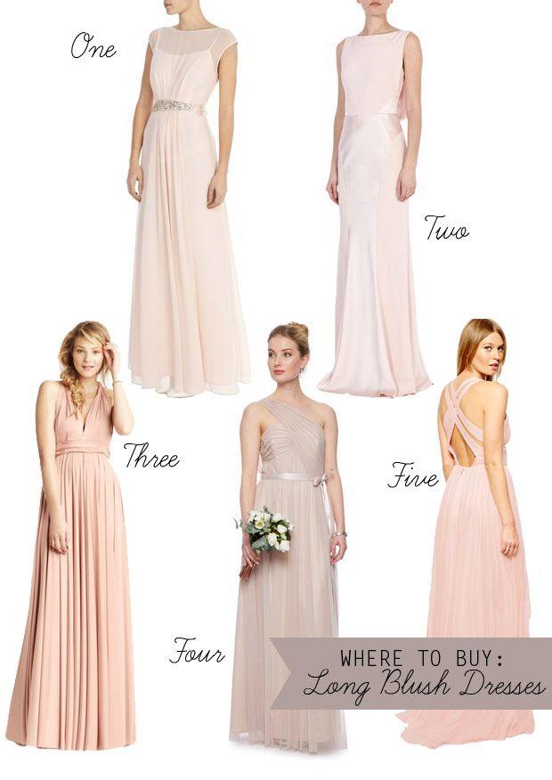 Where to Buy: Long Pink & Blush Bridesmaid Dresses