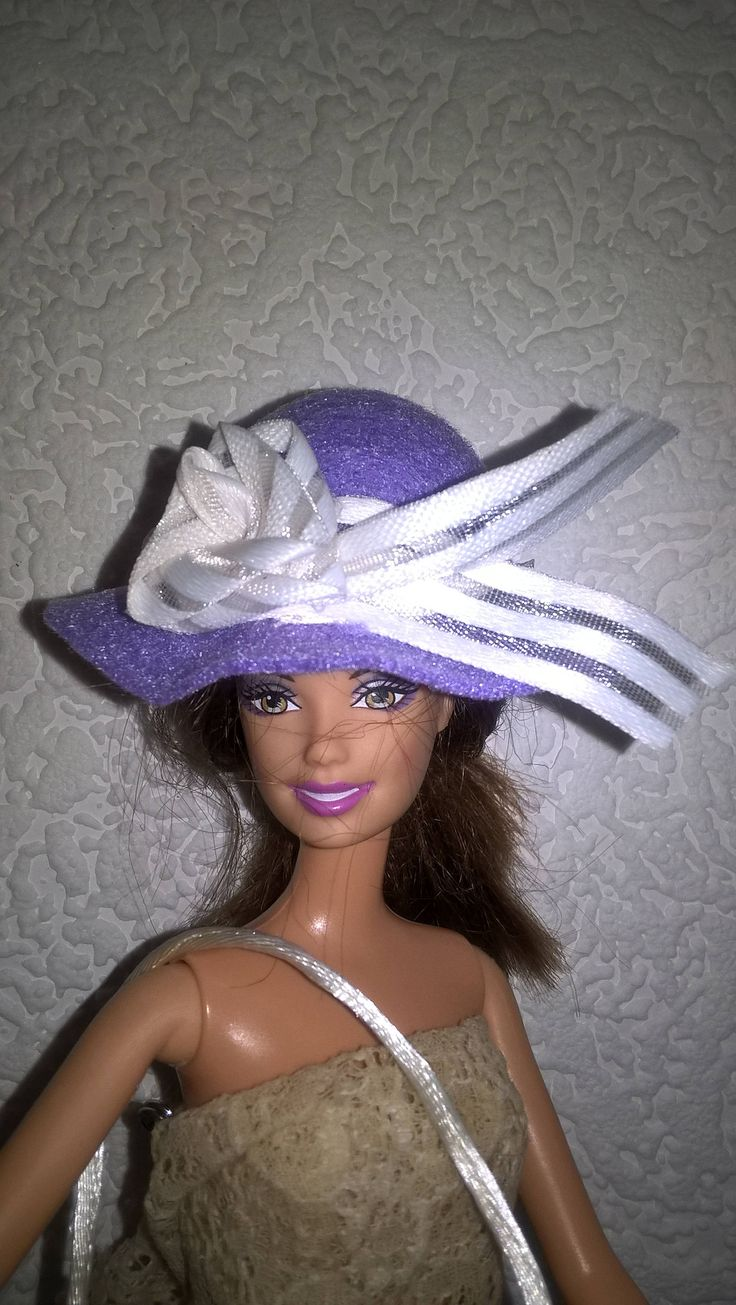 Lilac felt hat and handbag for Barbie. OOAK hat and purse for 12inch fashion doll. Ribbon rose decorations on both items. Barbie clothes. by Nobodyknitsitbetter on Etsy