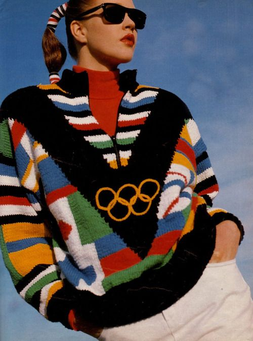 "1980's Olympic Fashion-""Yup we wore stuff like this & we ABSOLUTELY did crazy stuff to our hair (example in pic) We believed in our hearts that we looked good...REAL good. And we did, i have only one regret. The Rooster Bangs, i confess i got carried away with the teasing & was notoriously known for my undying love of hairspray.-LL"