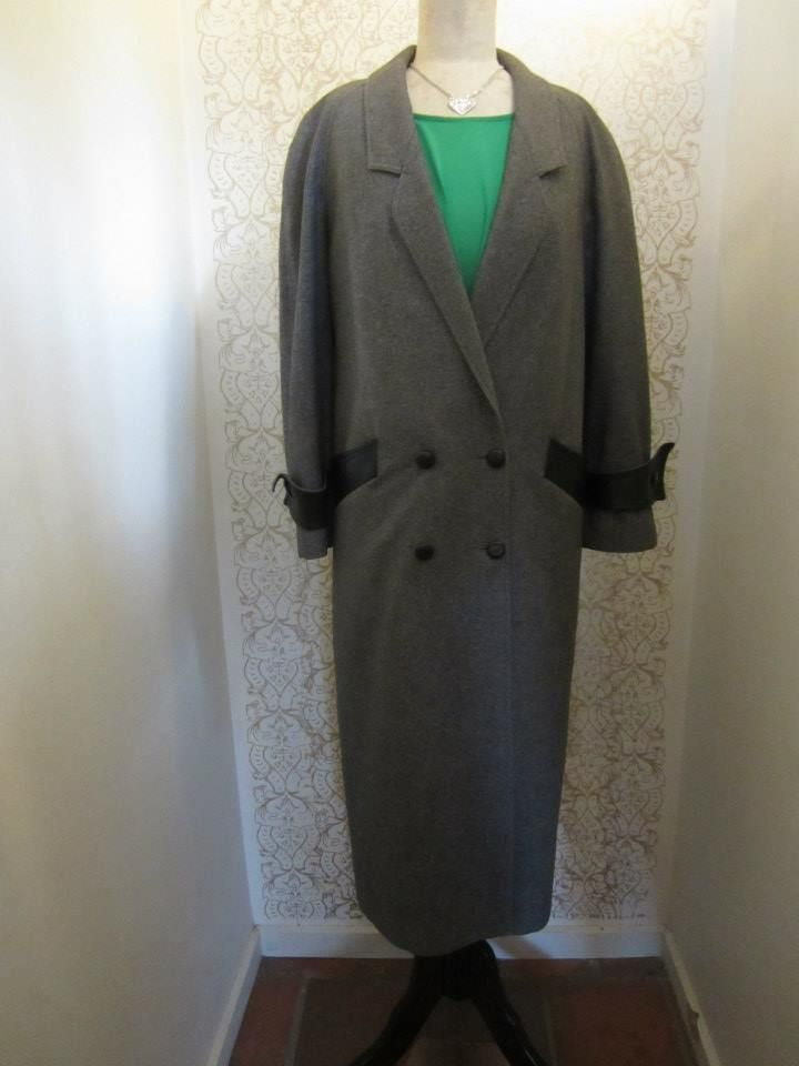 Peter Metchev wool coat with leather detail