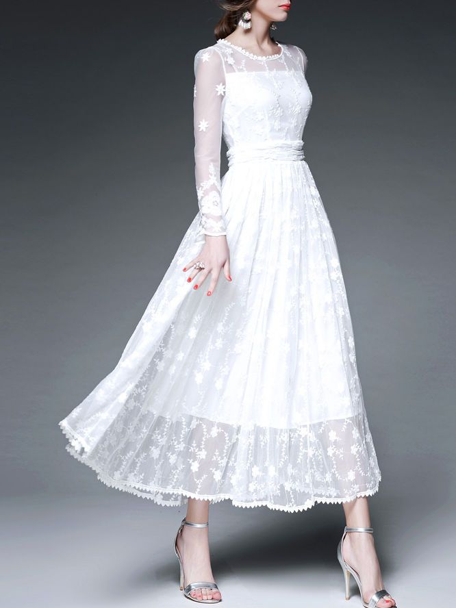 White Floral Crew Neck Long sleeve A-line Evening Embroidery Mesh Paneled Maxi Dress. ❤️-Penny-