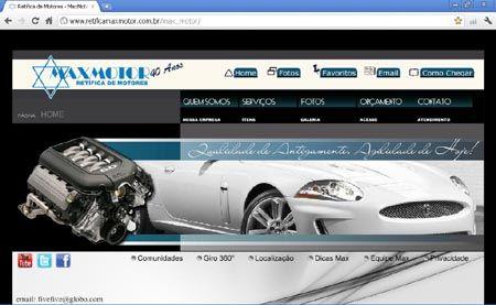 Site da Max Motor - Retífica de Motores - Localizado no bairro do Cambuci