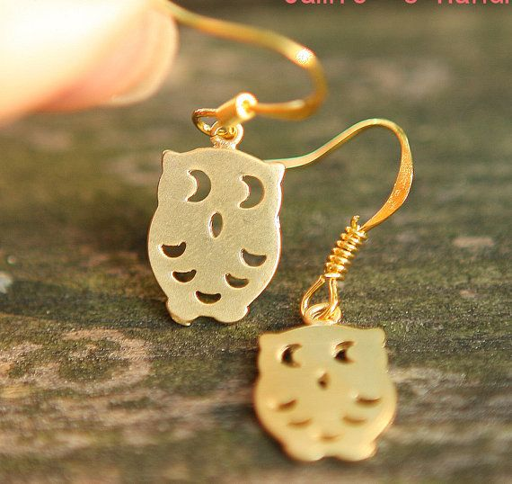 Cute Owl Family Gold Plated Simple Necklace & Earrings Jamie's Hand Made