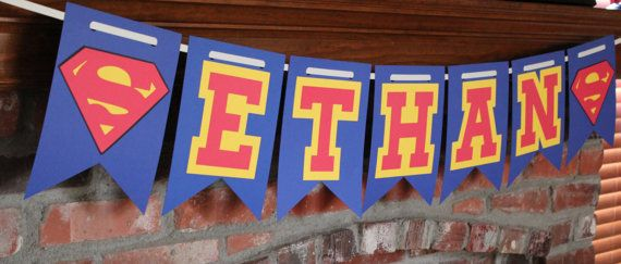 Personalized Superman Banner Superman Birthday by TheJoyfulHauss