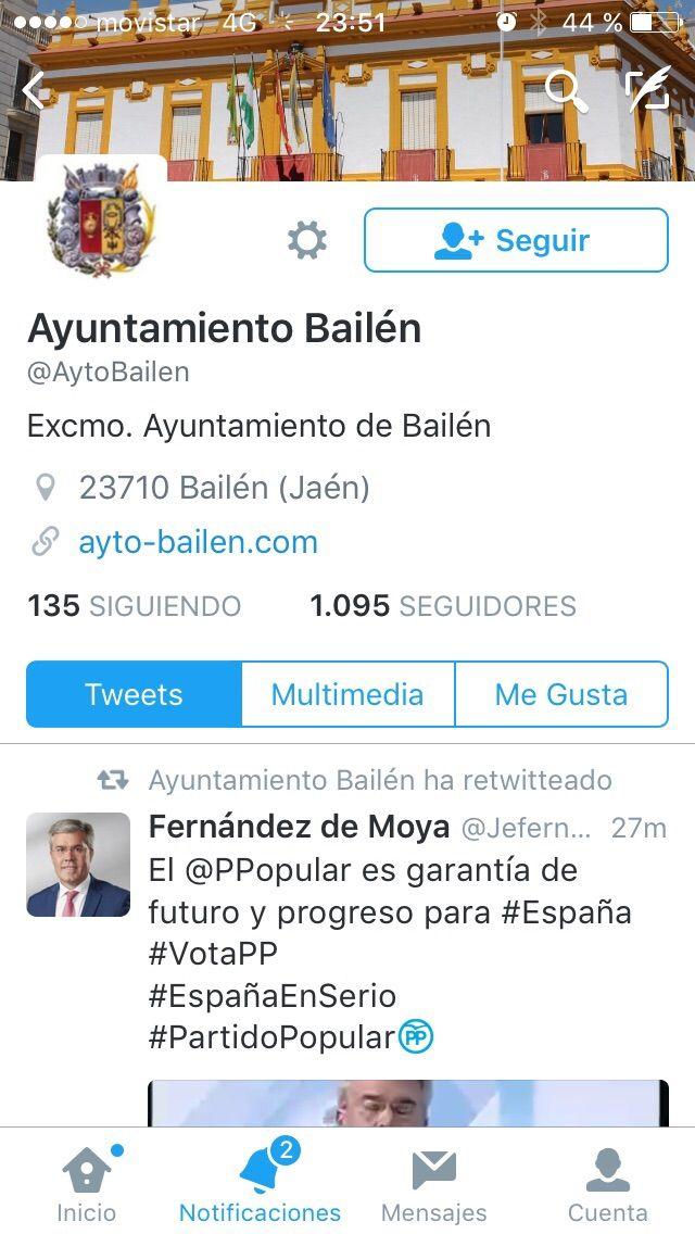 El Twitter oficial del ayuntamiento de Bailén pide el voto para el PP, denuncia el PSOE