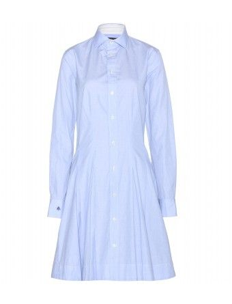 """Cut for a flattering and feminine silhouette, this light blue Polo Ralph Lauren shirt dress is a contemporary update to a wardrobe staple. The breathable pure cotton fabric will keep you cool and poised when the weather warms. Wear it now with tights and pumps, opting for bare legs and sandals later in the year."""