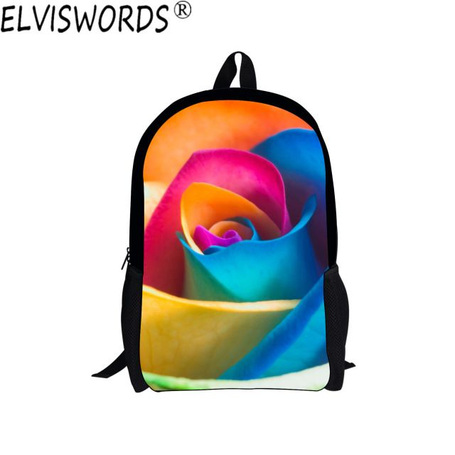 ELVISWORDS 3D Flowers Girls School Bags Beasutiful Painting Backpack for Teenagers High Quality Students Bookbag Travel mochila