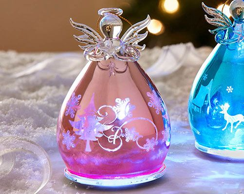 Glass Angel £10  Delightful coloured glass angel ornament, complete with white LED inside. Includes on/off switch. Hang on a tree or use as an ornament. Emits a soft glow when lit. Choice of pink or blue. Requires 3 x LR44 batteries (included). H13 x diam. 8cm  Klife Kleeneze Xmas Christmas