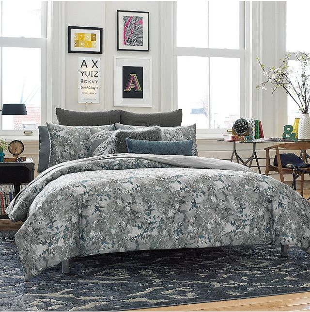 your home with the air duvet cover this luxuriously soft cotton bed features an allover print in a beautiful tealgrey color