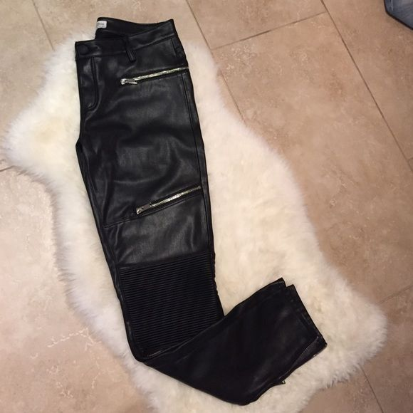 NWOT Faux leather biker pants Never worn sick biker pants. Super soft leather and fits really well with great details Zara Pants Skinny