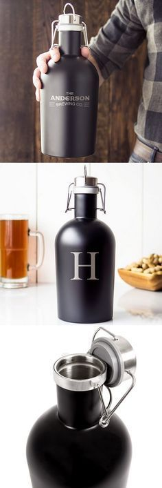 Your best man, groomsmen, or any guy on your gift list will be proud to show off this unique, hefty 1/2 gallon black matte finish stainless steel growler personalized with a large single initial or first name and 'established' date for transporting his latest home brew or hard cider. The moment he opens this gift, he'll be immediately be impressed by the size and quality. This growler can be ordered at http://myweddingreceptionideas.com/personalized-black-64oz-stainless-steel-growler.asp