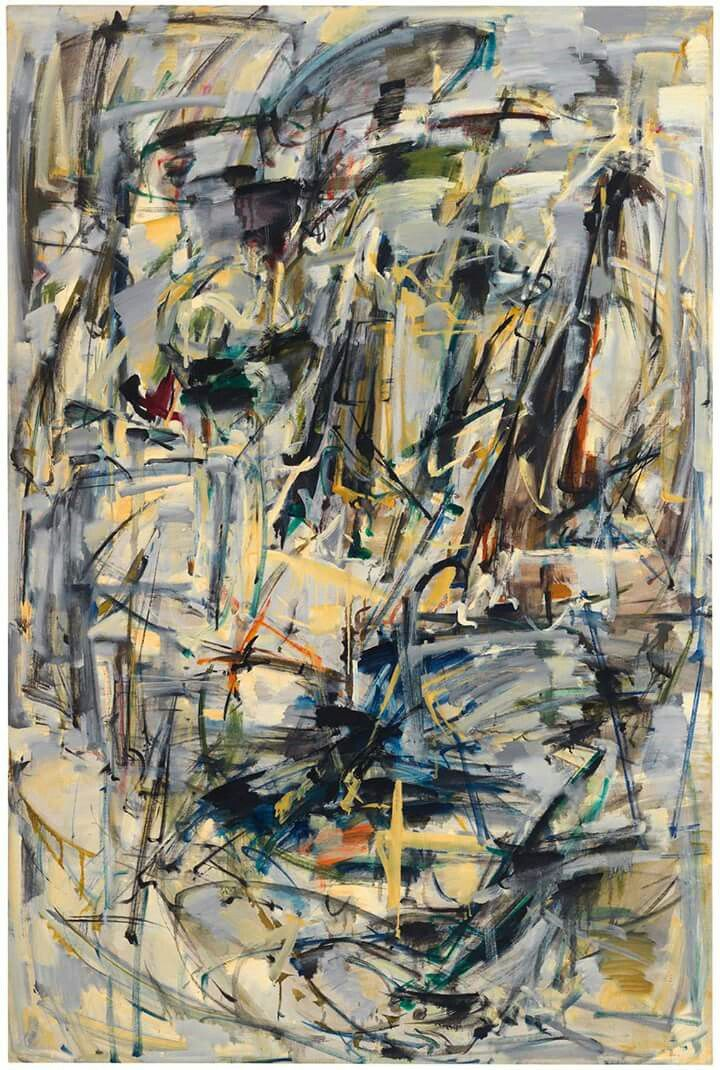 """Untitled"", 1952-1953. Oil on canvas, 76 5/8 x 51 in (194.63 x 129.54 cm). Collection of the Joan Mitchell Foundation, New York. © Estate of Joan Mitchell."