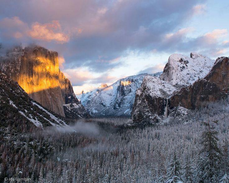 """""""Clouds and Mist Sunset"""" Tunnel View Yosemite National Park, CA, USA © Ida Gamban 2017  #landscape #landscapephotography #yosemite #nationalparks #sunset #tunnelview #idagamban"""