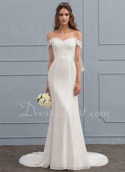 [ 222.99] Trumpet/Mermaid Off-the-Shoulder Court Train Chiffon Lace Wedding Dress With Beading Sequins (002119786)