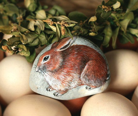 Stone with a hand-painted european rabbit/common by SkadiaArt
