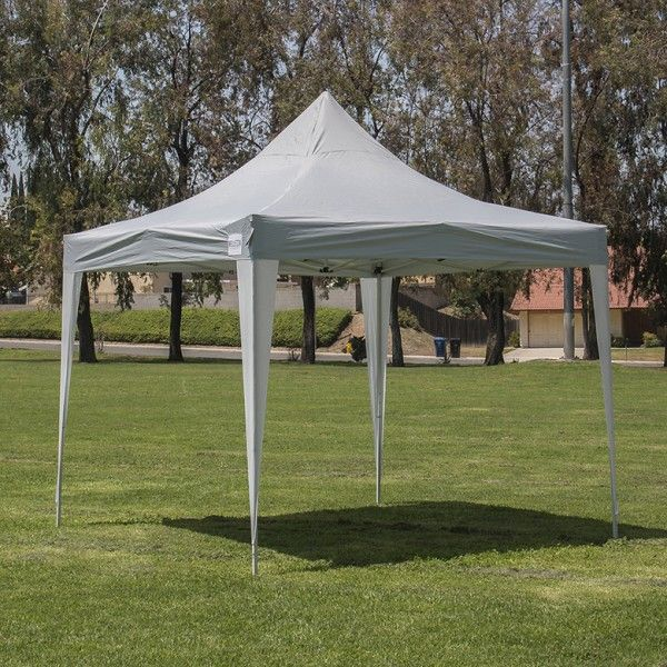 Pop Up Canopy Tent Gazebo Beach Foldable Instant Shade Cathedral Style Frames, Silver