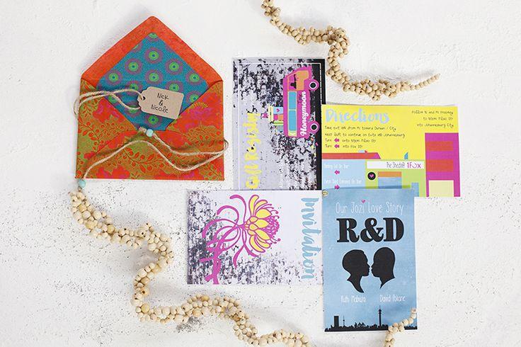 Johannesburg City of Gold Styled Shoot - see more South African homegrown inspiration on www.ninirichi.co.za | wedding stationery invitation set | shwe shwe envelopes