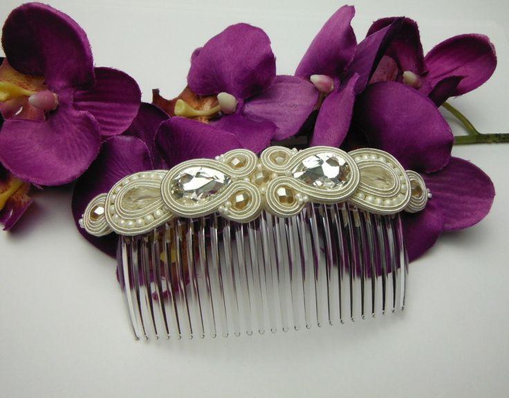 Soutache tocado (peine) de novia  de Soutacheria por DaWanda.com