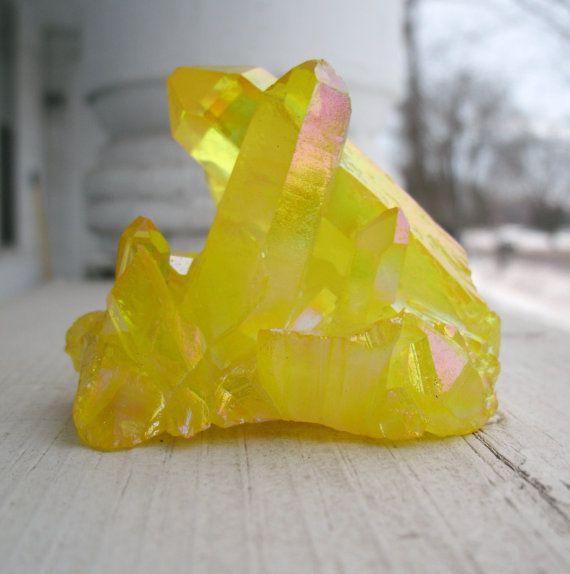 Yellow Quartz Crystal Cluster  80g    - Sunshine Aura Crystals,  Display, Meditation, Chakras, Metaphysical Healing Stone, Gem  80g
