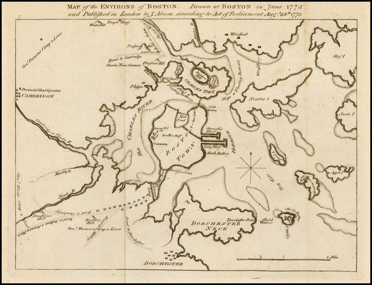Map of the Environs of Boston, by John Almon, drawn at Boston in June 1775, published in London Aug 28 1775. #bostonhistory