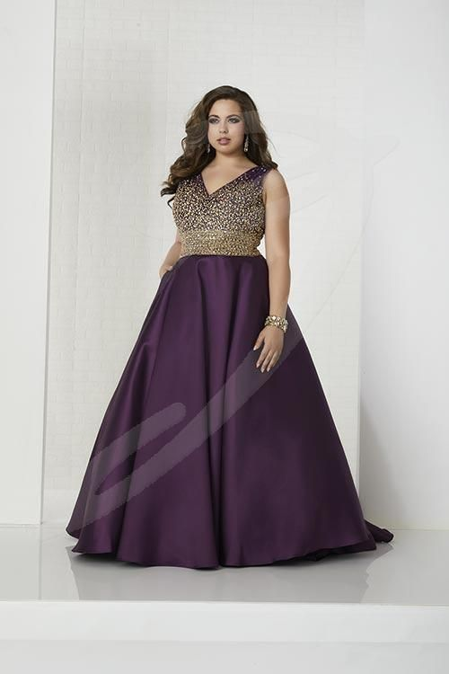 Balletts Bridal - 25485 - Prom by Jacquelin Bridals Canada - V-neckline with metallic and rhinestone beaded bodice and waistband. A-line Mikado skirt with side pockets and sweep train. V-back and lace-up.