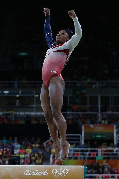 #RIO2016 US gymnast Simone Biles competes in the Beam event during the women's team final Artistic Gymnastics at the Olympic Arena during the Rio 2016 Olympic...