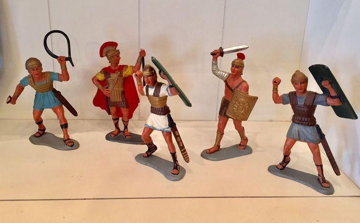 "5 Vintage Marx Roman Warrior Toy Soldiers Figure 6"" Tall - Plastic 1960's #Marx"