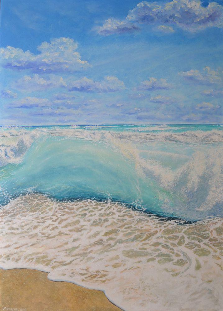 анна кшановская-орлова, anna kshanovska, картина, картину, живопись маслом, масляная живопись, бирюза, морской пейзаж, прибой, голубая волна, морская пена, отпуск, отпуск у моря, реализм, лето, зной, волна, бирюзовая вода, прозрачная вода, купить картину