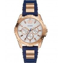 GUESS Intrepid 2 Rose Gold Blue Rubber Strap W0325L8