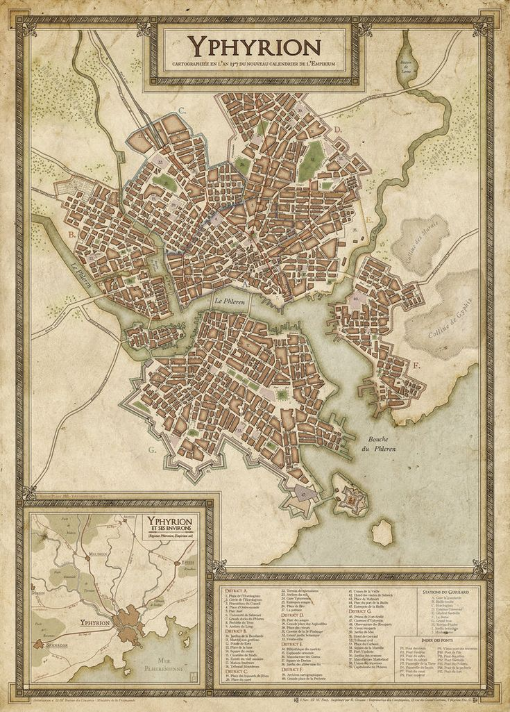 Personnal work. This map was intended to show some late 19th century city cartography style, with a fictionnal city. Featured map awarded on Cartographers' Guild.com