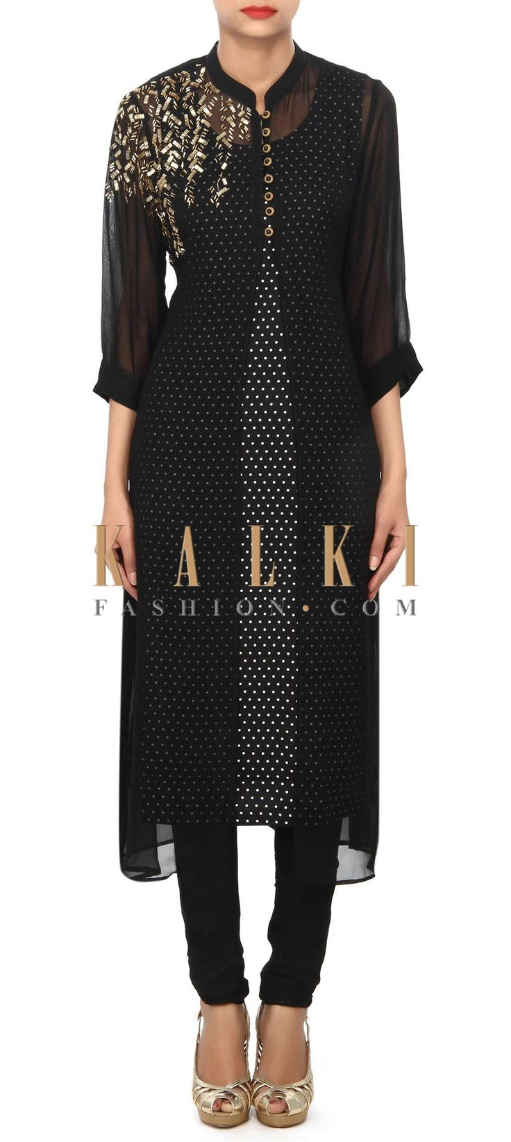 Buy Online from the link below. We ship worldwide (Free Shipping over US$100) Price- $59 Click Anywhere to Tag http://www.kalkifashion.com/black-printed-kurti-enhanced-in-kardana-work-only-on-kalki.html
