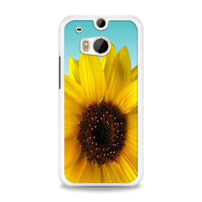 Sunflower Cute Flower Tumblr Inspired Blue Ombre HTC One M8 Case | yukitacase.com